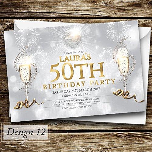50th Birthday Personalised Invitations Amazoncouk