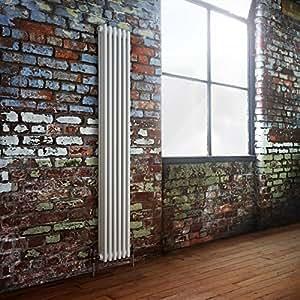 HUDSON REED - Radiateur Chauffage Central Vertical Style Fonte - 180 x 29cm - 1644W - 3 Rangs de Colonnes