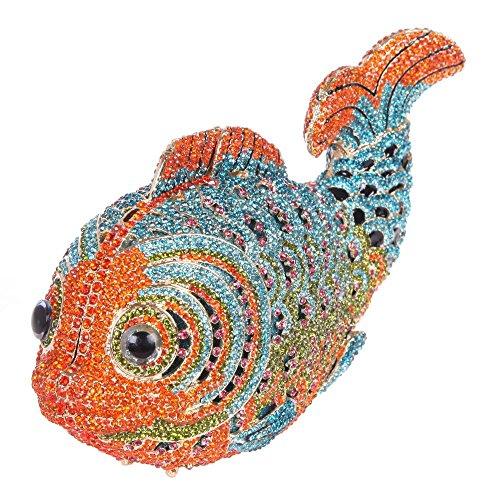 Santimon Clutch Delle Donne Lusso Bling Strass Pesce Borse Da Festa di Nozze Sera Con Tracolla Amovibile e Pacco Regalo 10 Colori alzavola
