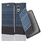 Cadorabo Hülle für Samsung Galaxy S5 / S5 NEO - Hülle in DUNKEL BLAU SCHWARZ – Handyhülle mit Standfunktion und Kartenfach im Stoff Design - Case Cover Schutzhülle Etui Tasche Book