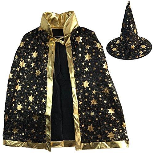 Halloween Umhang Kleid Qualität Faser Hexe Umhang Cosplay Dress up Requisiten (Farbe : Schwarz)