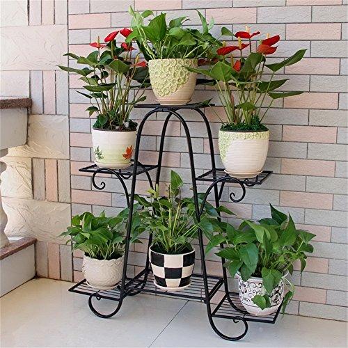 Metall Eisen Blume Rack / Stand 6 Tiered Pflanze Blumenständer Wohnzimmer Balkon Indoor & Outdoor ( Farbe : Schwarz , größe : 76*23*73cm )