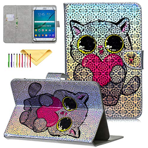 Uliking Universal Bling Glitzer Hülle für Samsung Galaxy Tablet, Apple iPad, Google Nexus und weitere 16,5-26,7 cm Tablet For 9.5-10.5 Inch Tablet #004_Love Cat