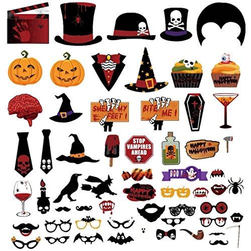 (Ktroman Halloween Foto Booth Requisiten 60 Stück DIY Kit Lustige Dress-up-Accessoires für Party Reunions Karneval)