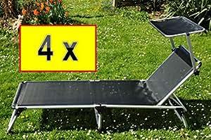 4 x feldbett massiv und stabil 4 st ck sonnenliegen mit sonnendach dach fertig montiert 4x. Black Bedroom Furniture Sets. Home Design Ideas