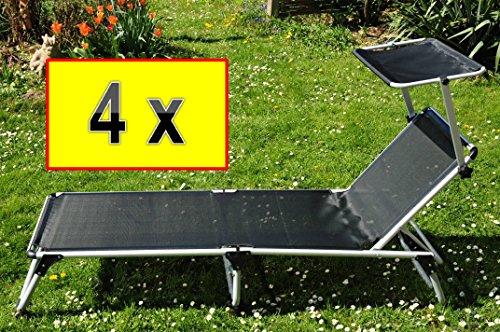 4 x Liege Dreibeinliege PREMIUM-Strandliege fertig montiert