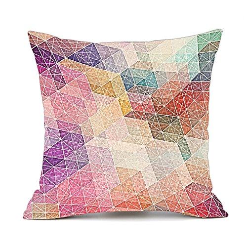 Redland Art Bunte Geometrisch Gedruckt Muster Baumwolle Leinen Deko KissenbezügeFall Sofa Kissenhülle 45x45cm (Stoff Geometrisches Muster)