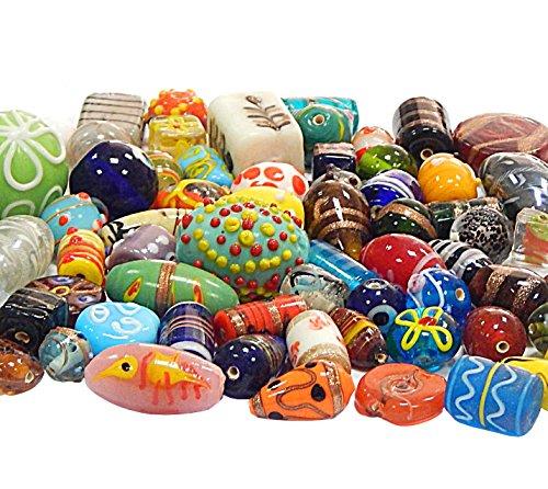 n Posten Glas Perlen Beads Silberfolie Lampwork Rund Oval Bunt Perlenset Bastelset Für Schmuck zur Schmuckherstellung von Halsketten Armband DIY (500) ()