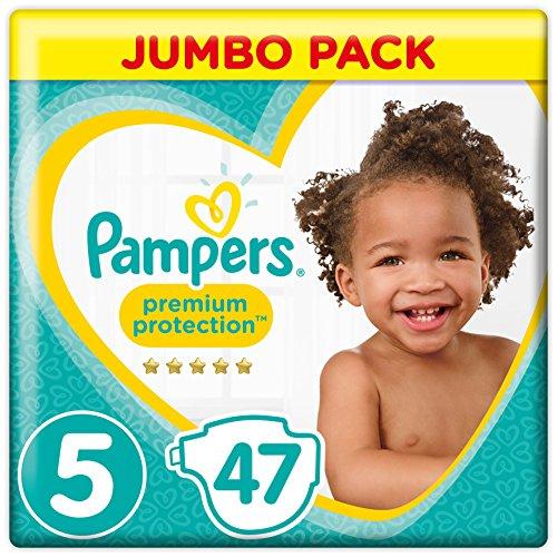 Pampers Premium Protection Windeln, Gr. 5 (11-23 kg), Jumbopack, 1er Pack (1 x 47 Stück)