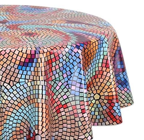 Wachstuchtischdecke glatt abwischbar OVAL RUND ECKIG, Wachstuch Garten Tischdecke, Größe und Motiv wählbar (Eckig 140x140 cm Mosaik-bunt)