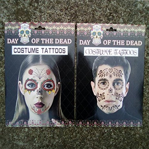 Vovotrade Halloween Party Cosplay Ekelhaftes Gesicht Terror Temporäre Tattoos Sticker Dekor (Moderne Kunst Halloween Kostüm)