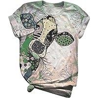 Subfamily Casual T-Shirt da Donna con Stampa Animalier 3D da Donna, Girocollo, Maniche Corte, per t-Shirt Oversize all…