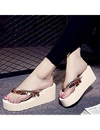 MEIDUO Sandalen 7 cm Sommer High Heel rutschfeste Strand Sandalen Fashion Casual Pantoffeln (braun schwarz grau...