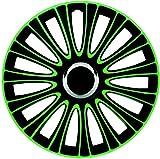 ZentimeX Z733006 Radkappen Radzierblenden universal 14 Zoll Green-Black