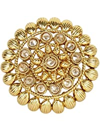 MUCH MORE Floral Shape Gold Plated Adjutsable Polki Ring Party Wear Jewellery For Women's