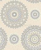 Holden Dcor Glitter Medallion Pattern Abstract Aztec Motif Wallpaper (Blue Cream 11451)
