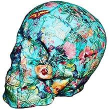 Calavera decorativa - Cráneo tamaño real - Flores y mariposas