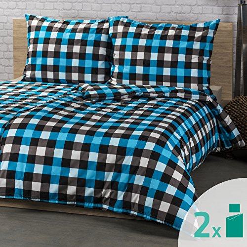 4Home 4-TLG. Bettwäsche Checker, Baumwoll-Mischgewebe, Turquoise/Grey/Black, 200 x 140 cm, 4-Einheiten