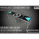 LED Beer Pong Tisch - Audio Table - inkl. Ballhalter (+6 Bälle), LED Racks & Regelwerk