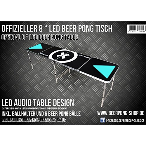 #LED Beer Pong Tisch – Audio Table – inkl. Ballhalter (+6 Bälle), LED Racks & Regelwerk#