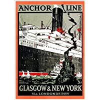 """""""Anchor Line - Glasgow-New York"""" (3) A4 Glossy Vintage Cruise Line Poster Art Print"""