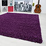 SMALL - EXTRA LARGE SIZE THICK MODERN PLAIN NON SHED SOFT SHAGGY RUG REC & ROUND, Size:160x230 cm;Color:Purple