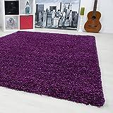 Hochflor Shaggy Teppich für Wohnzimmer Langflor Pflegeleicht Schadsstof geprüft 3 cm Florhöhe Oeko Tex Standarts Teppich, Maße:80x150 cm, Farbe:Lila