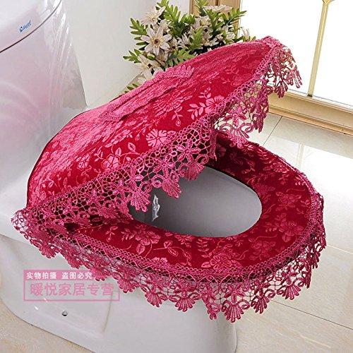 WANG-shunlida Wc zwei Stücke von zipper Sitz spitze Polster, rote Bohnen paste (Zwei Sitz Rot)