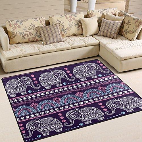 Naanle Vintage-Stil, mit Paisley-Muster, Rutschfest, für Wohnzimmer, Schlafzimmer, Küche, 50x 80cm (2x 2,6m, Mandala-Teppich, Yoga-Matte mit Tiermotiven, Elefant, Multi, 150 x 200 cm(5' x 7')