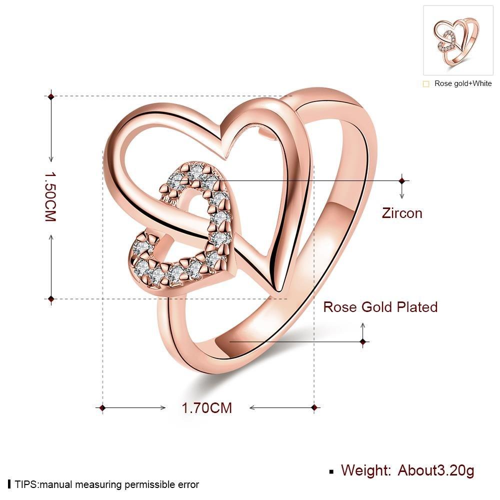 Anello in Lega Di Alluminio Anello Zircone a Forma Di Cuore , oro rosa , 7