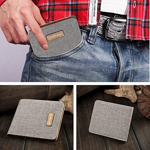 iVotre Leinwand Brieftasche Ultra Slim Kurze Casual Stil Multi - Card Slots Bild Inhaber Mode Solide Bifold Handtasche Für Studenten, Männer, Männer - Grau blue