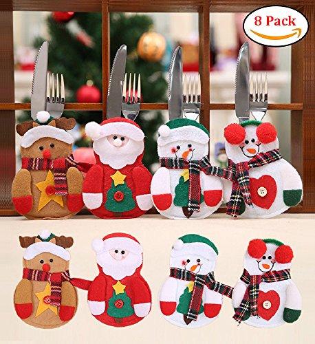 DIKETE 8 stück Weihnachten Besteckhalterset Bestecktasche Besteckhalter Besteckbeutel Weihnachtsdeko Besteck Kostüm Tische Accessoires