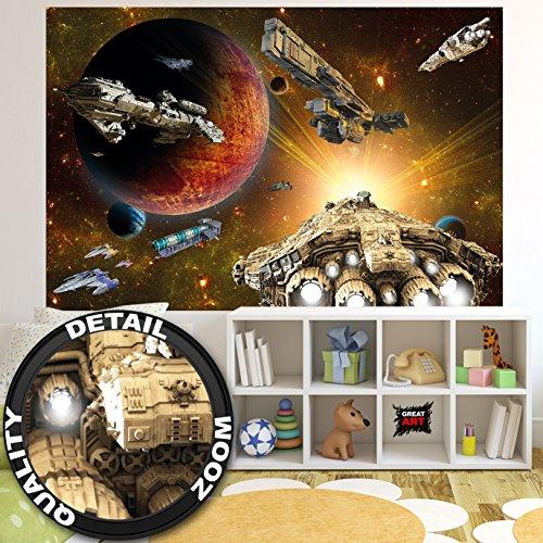 Fototapete Galaxy Adventure - Wandbild Dekoration Raumfahrt-Mission space-shuttle science-fiction Raumschiff Weltraum All Stern I Foto-Tapete Wandtapete Fotoposter Wanddeko by GREAT ART (210x140 cm)