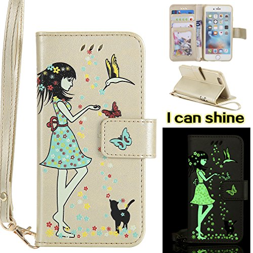 BONROY® Coque PU Cuir pour iPhone 6 6S, Protectrice Housse étui en Cuir pour iPhone 6 6S with Lanyard, Fille et le chat Noctilucent Etui Pochette Portable Flip Wallet Housse Bookstyle Case Porte Carte d'or