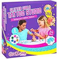 GirlZone Regalos para Chicas: Kit DE Tatuajes TEMPORALES con Brillantina para Niñas Incluye 33 Piezas. La Mejor Idea Regalo de Cumpleaños Navidad Reyes Magos Niños 4 5 6 7 8 9 10 11 años