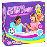 GirlZone: temporaire Paillettes Tatouages kit de 33pièces, Meilleure Idée de Cadeau d'anniversaire de Noël pour Filles Âge 678910+