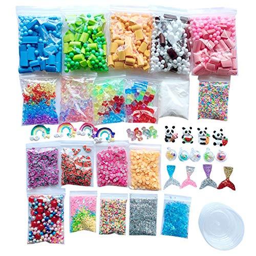 s Kit Schaum Perlen Charms Styropor Bälle Werkzeuge für DIY Slime Making-Kinder Spielzeug, Schleim Selber Machen Farben Crystal Clay Schlamm (Mehrfarbig) ()