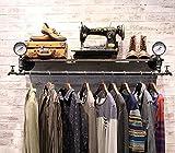 YOTA HOME Garderobe Weinlese-Eisen-Rohr-Shirt-Ausstellungsstand-Größe: 124 * 30cm Kleiderablage (Farbe : Schwarz)