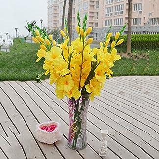 FLAMEER Flores y Flores Artificiales Flores de Boda glaïeuls tija de Gladiolus 8Colores