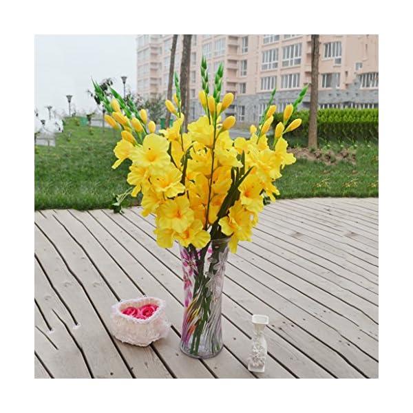 FLAMEER Flores Artificiales, Flores Artificiales De Seda Flores De Gladiolo, Ramo De Novia para La Decoración De La Boda…