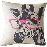 Weihnachten Sofa Deko Leinen Kissenhülle Zierkissenbezug Geschenkidee, Tiere Muster, Grundfarbe Beige (Giraffe mit roter Brille)
