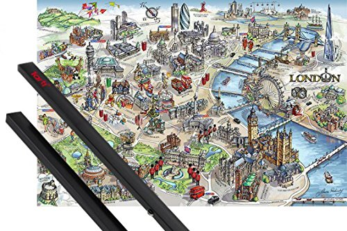 Poster + Sospensione : Londra Poster Stampa (91x61 cm) Map Illustration E Coppia Di Barre Porta Poster Nere 1art1®