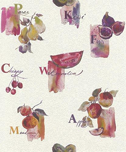 Tapete Küche Rasch Früchte Obst Küchentapete cremeweiß pink 307504
