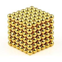 OMO 216 magnet kugel würfel Neodym Super Magnete Würfel Neodym vernickelt N42 hält 400 g (4,0 mm, Gold) (Gold)