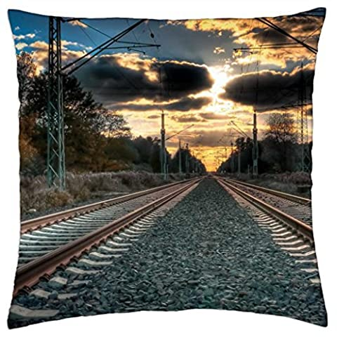 dual train tracks straight to a sunset - Throw Pillow Cover Case (18