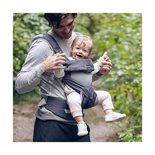 Ergobaby Baby Carrier for Toddler, 360 Cool Air Carbon Grey, 4-Position Ergonomic Child Carrier and Backpack Ergobaby Ergonomic baby carrier for the summer, with 4 ergonomic carry positions: front-inward, back, hip, and front-outward. The carrier is suitable for babies and toddlers weighing 5.5-15 kg, and can be used as a back carrier. Also with insert for newborn babies weighing 3.2-5.5 kg (7-12 lbs), sold separately. NEW - The waistbelt with lumbar support can be worn a little higher or lower to support the lower back and provide optimal comfort, and has adjustable padded shoulder straps. The carrier is suitable for men and women. Maximum baby comfort - Breathable 3D air mesh material provides an optimal temperature for your baby on warm days. The structured bucket seat supports the correct frog-leg position for the baby. The carrier also has a neck support and privacy hood with 50+ UV sun protection. 7