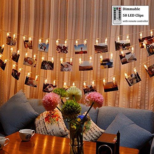 Anzeige Powered Remote (LED Foto Clip Lichterkette (Remote & Timer, 8 Modi),WERTIOO 50 Photo Clips 5M Batteriebetriebene Stimmungslichter für Party, Weihnachten, Dekoration,ideal für hängende Bilder,Hochzeit (Warmweiß))