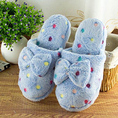 Unke Frauen Lady 's Einschubtasche Weich Warm Baumwolle Anti-Rutsch Indoor Hausschuhe Scuff Home Schlafzimmer Schuhe Schuhe US 8 blau (Einfach Kits Needlepoint)