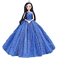 Bluelans Rhinestone Lace Off-the-Shoulder Princess Evening Doll Dress for Barbie Doll