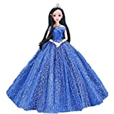 MAJGLGE Strass épaules en Dentelle Princesse Robe de soirée pour poupée Filles Enfants Jouet–Rose Rouge